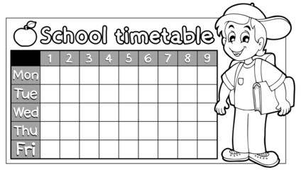 Coloring book school timetable 9