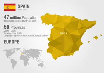 Spain world map with a pixel diamond texture.