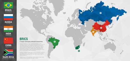 Wall Mural - BRICS world map with a pixel diamond texture.