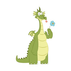 Good dragon with flower