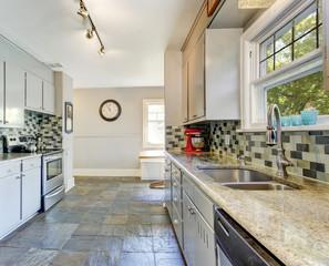 Kitchen room interior with tile back splash trim