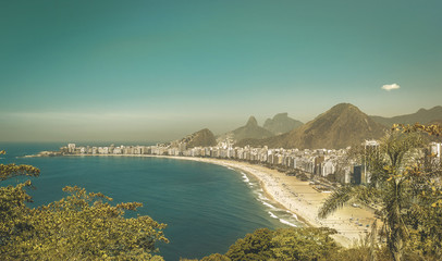 Copacabana Beach vintage fall view, Rio de Janeiro