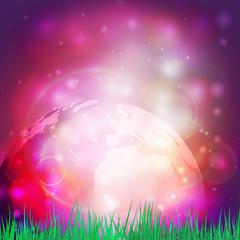 Abstract background of globe with grass vector illustration.View