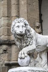 Statue of a lion at the Loggia dei Lanzi in Piazza della Signori