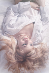 beautiful romantic woman in morning bed