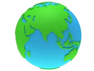 Earth planet globe. 3D render. India view.