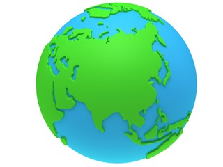 Earth planet globe. 3D render. Russia view.