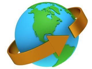 Earth planet globe. 3D render.