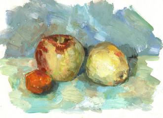 three fruits, drawn