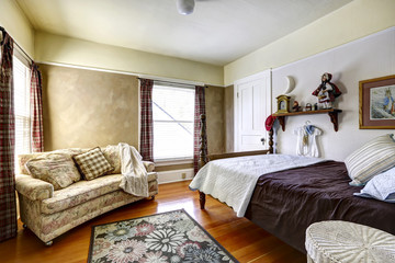 Bedroom interior in old house