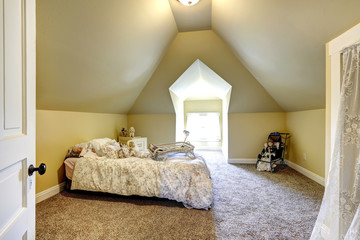 Soft ivory bedroom with vaulted ceiling