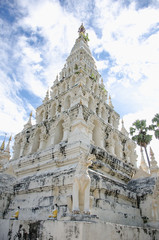White Triangle Pagoda at ancient buddhist temple