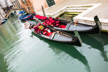 Gondolas in a calm canal