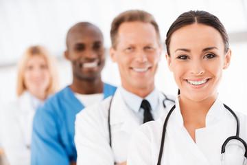 Confident doctors team.