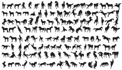 Horse Silhouette Collection.134 character EPS 10.