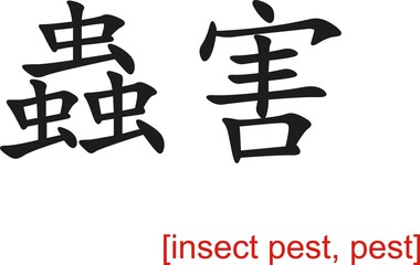 Chinese Sign for insect pest, pest