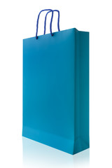 Blue shopping bag, isolated with clipping path on white backgrou