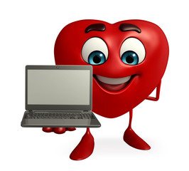 Heart Shape character with laptop