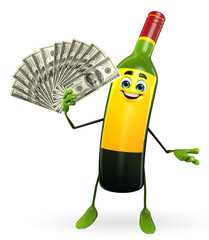 Wine Bottle Character with dollars
