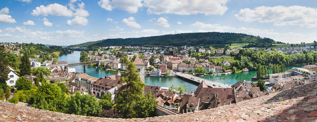Panoramic view of Swiss town Schaffhausen. River Rhine. Fototapete