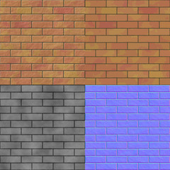 Brick wall seamless generated hires texture (bump & normal map)