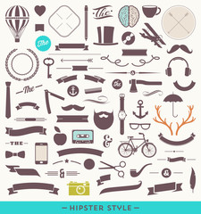 Hipster style set - simple silhouette design elements