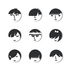 Boys And Girls Head Icons