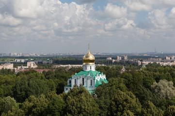 Tsarskoye Selo. Russia. Panorama of city with the White Tower.