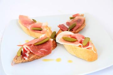 Jamon. Serrano ham, prosciutto served on bread. Tapas food