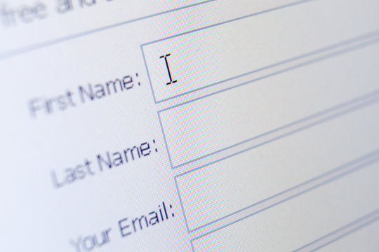Close up of sign up form