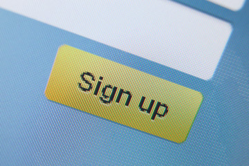 Close up view of sign up icon