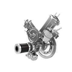 Disassembled V2 engine of large powerful motorbike isolated on w
