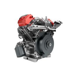Assembled V2 engine of large powerful motorbike isolated on whit