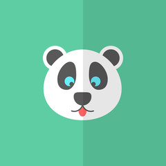 cute panda on green background