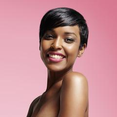 pretty black woman is smiling