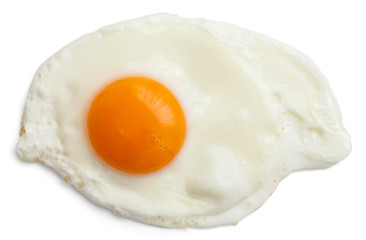 Photo on textile frame Egg Single fried egg isolated on white from above. Clipping path.