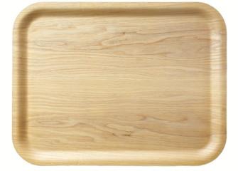 Fototapeta Brown wooden tray isolated on white background obraz