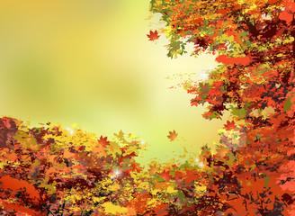 秋 バックグラウンド Autumn orange leaves background
