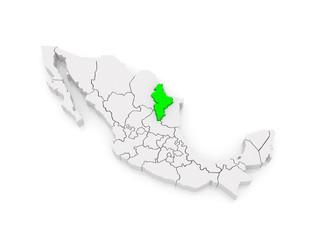 Map of Nuevo Leon. Mexico.