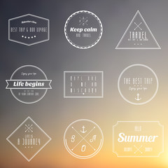 travel vintage label on sun set gradient background
