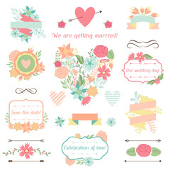Wedding collection of decorations, flowers, ribbons and labels.