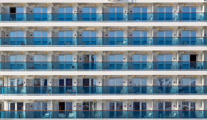 Cabin balconies of a modern cruise ship