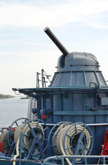 Cannon on warship russia