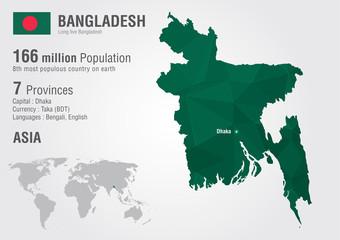 Wall Mural - Bangladesh world map woth a pixel diamond texture.