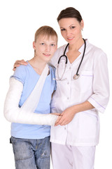 Female doctor and young boy