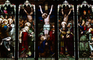 Wall Mural - Crucifixion of Jesus in stained glass