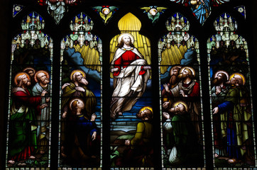 Wall Mural - Ascension of Jesus Christ in stained glass