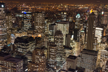 New York skyscrapers at night