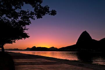 Silhouette of Sugarloaf Mountain during Beautiful Sunrise
