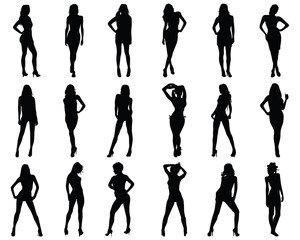 Black  silhouettes of beautiful girls, vector